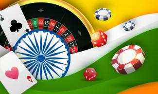 Online Casino India, with roulette, playing cards, dice and chips